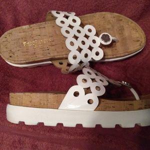 Eric Javits' NEW YORK White Patent Leather Sandals
